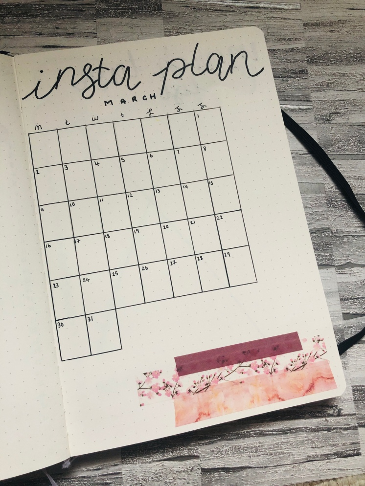 Instagram plan table in a bullet journal on a dotted page