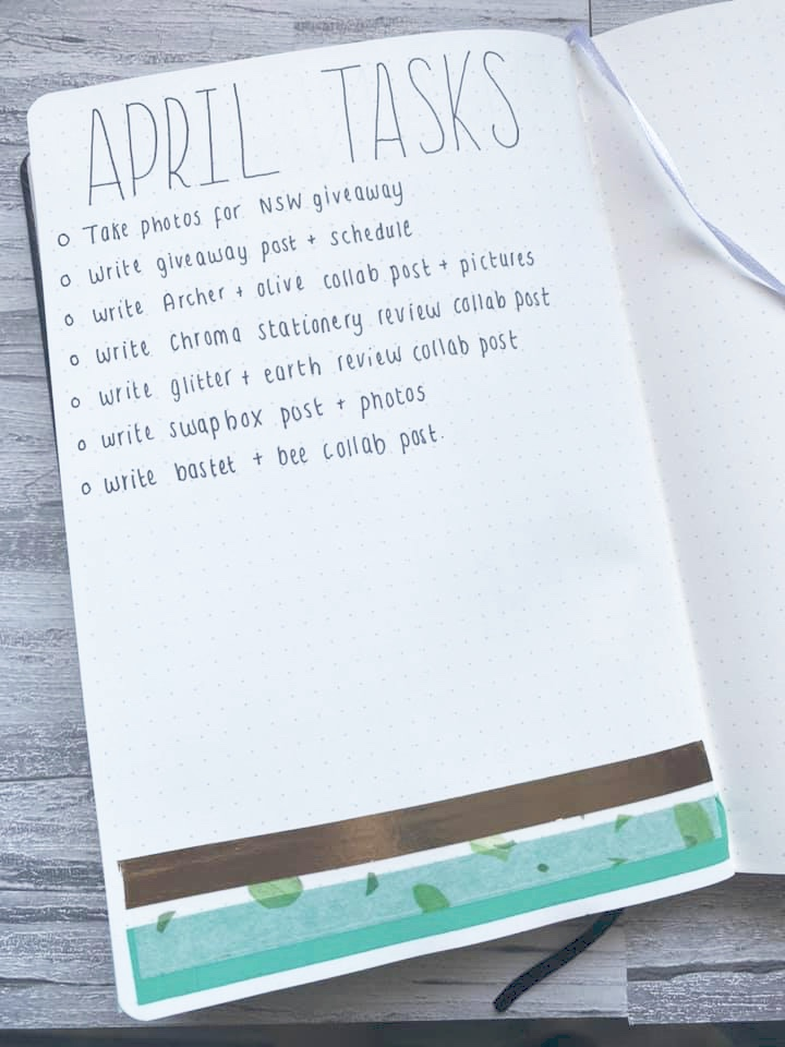 A April task list with bullet points decorated with green and gold washi tape.