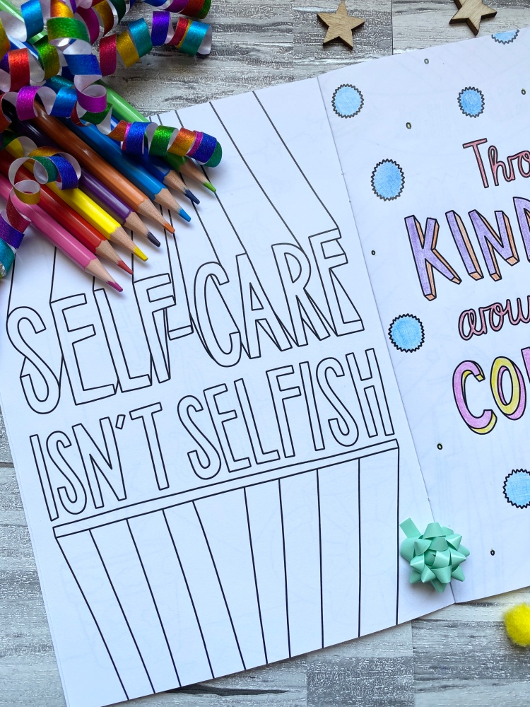 Colouring pages about self care with coloured pencils with coloured confetti