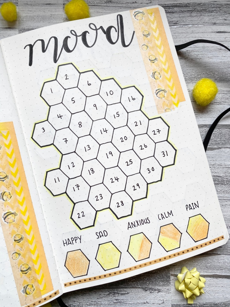 a mood tracker spread with a bumble bee theme with bumble bee washi tape