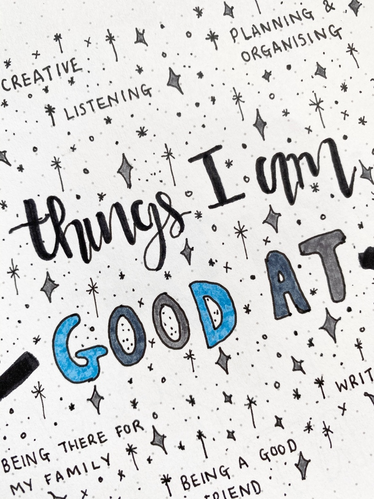 a bullet journal design with things I am good, with stars, dots and circles