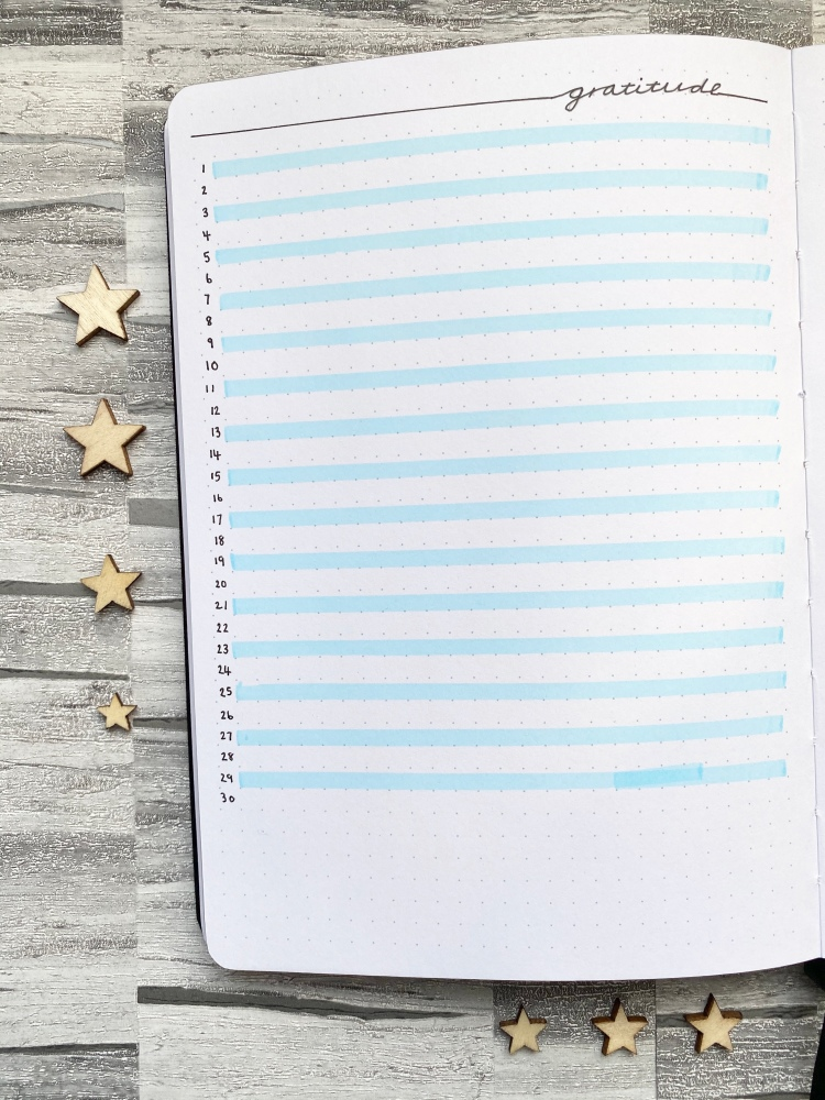 A gratitude log spread in a dotted paged notebook with blue highlighted lines