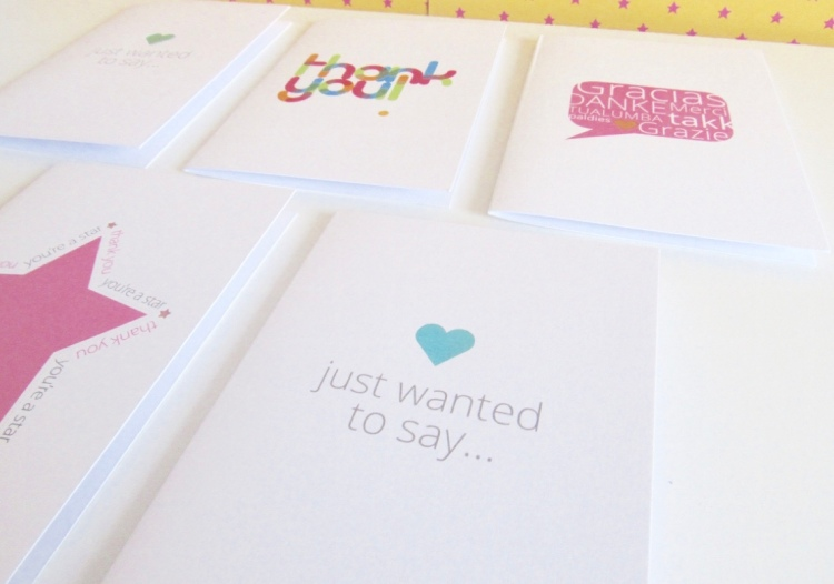 thank you cards with hearts and stars made with white cards