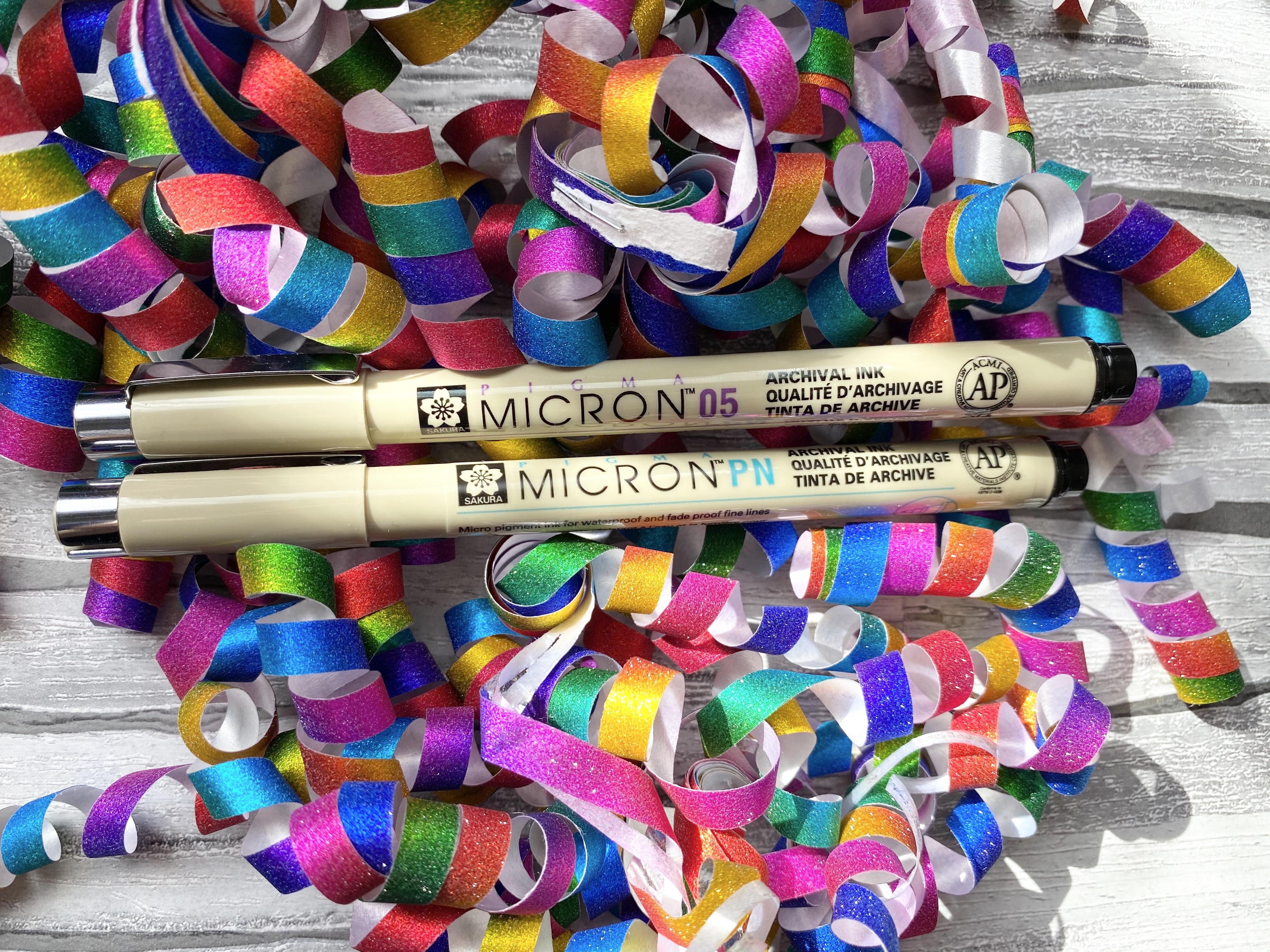 Pigma Micron Pens PN and O5mm on colourful confetti