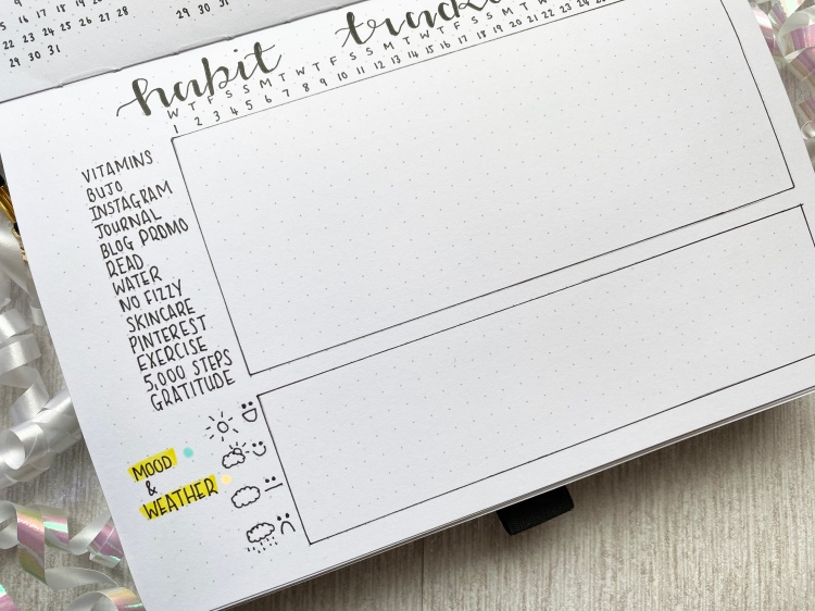 a habit tracker grid with a mood and weather chart on a white dotted paged journal