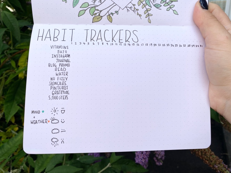 A habit tracker table, a mood and weather chart spread in an Archer and Olive dotted journal