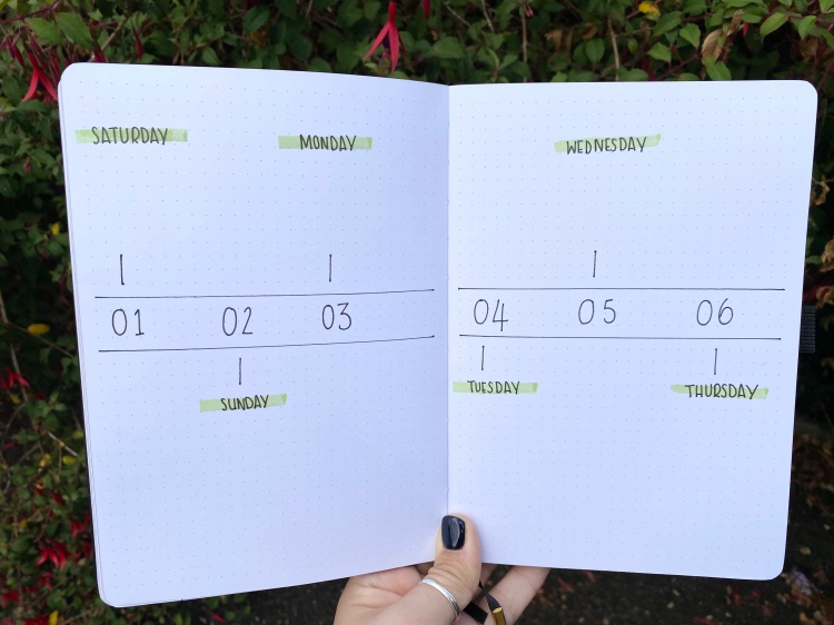 A double paged weekly spread with the days of the week in an Archer and Olive dotted journal