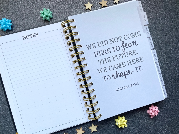 A quote page that says we did not come here to fear the future, we came here to shape it by Barack Obama