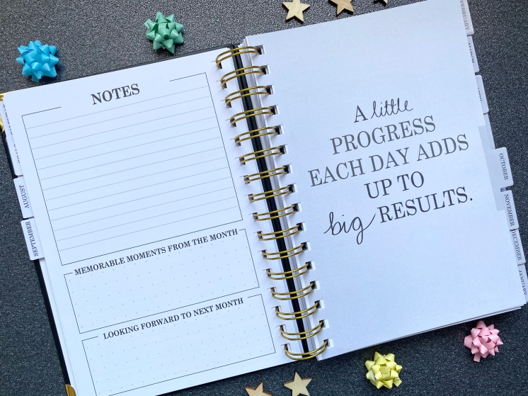 Notes page with a monthly reflection with a quote page that says a little progress each day adds up to big results