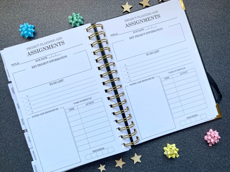 A project and assignment planning page with to-do lists and a task schedule