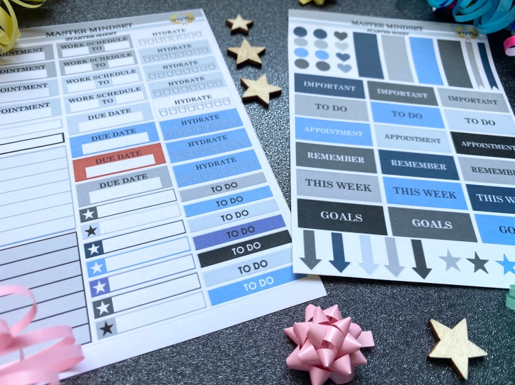 Two sticker sheets with planner actions on them in blue, grey, red and black