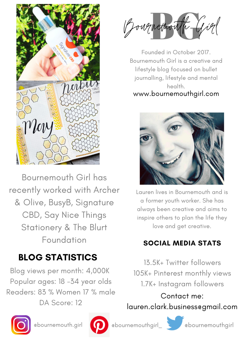 This is the example of a media kit, which has a photograph of me, two pictures from my Instagram account and a list of my social media following and blog statistics.