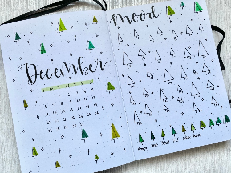 A bullet journal spread on silver shimmery paper. On the left page is a December cover page with a small overview calendar of the month, with lots of tree doodles and stars around the calligraphy lettering spelling out December. On the right hand side page is a mood tracker with lots of tree doodles and stars.