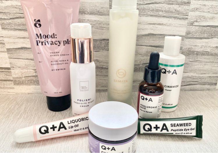 This is a picture of a range of vegan skincare, there is Q+A skin's night cream, lip oil, acid serum, eye gel, toner. There is an Estrid eye cream, Samaya data cleanser and Freya + Bailey night cream.