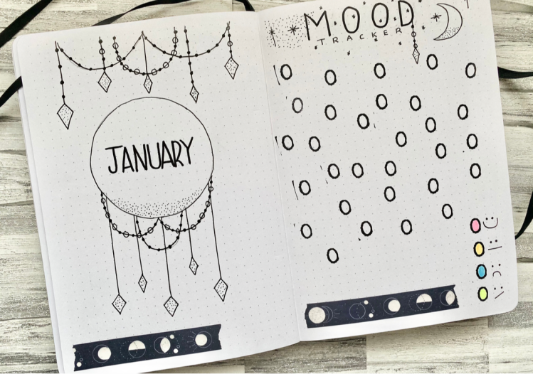 An open bullet journal. On the left page is a January cover page, that has circles, diamonds and dots on the page with black and white moon washi tape at the bottom of the page. On the right page is a mood tracker, this has 31 circles that are stamped around the page with a key at the bottom right hand corner that has a happy face, a straight face, a sad face and an unsettled face. At the bottom of the page it also has black and white moon washi tape at the bottom of the page
