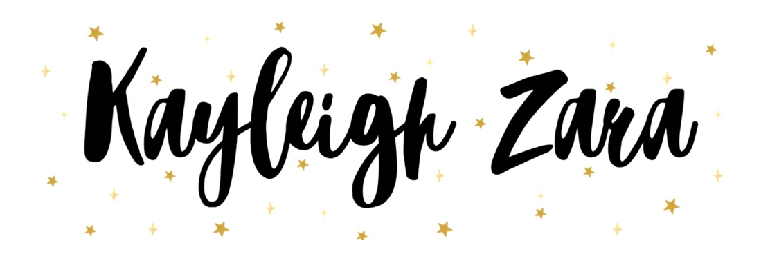 Kayleigh Zara blog banner, black calligraphy writing with gold stars around the lettering