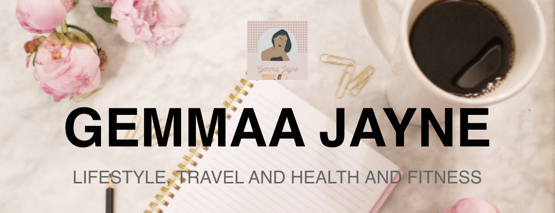 Gemmaa Jayne in block capital letters with captials underneath saying lifestyle, travel and health and fitness. In the background is
