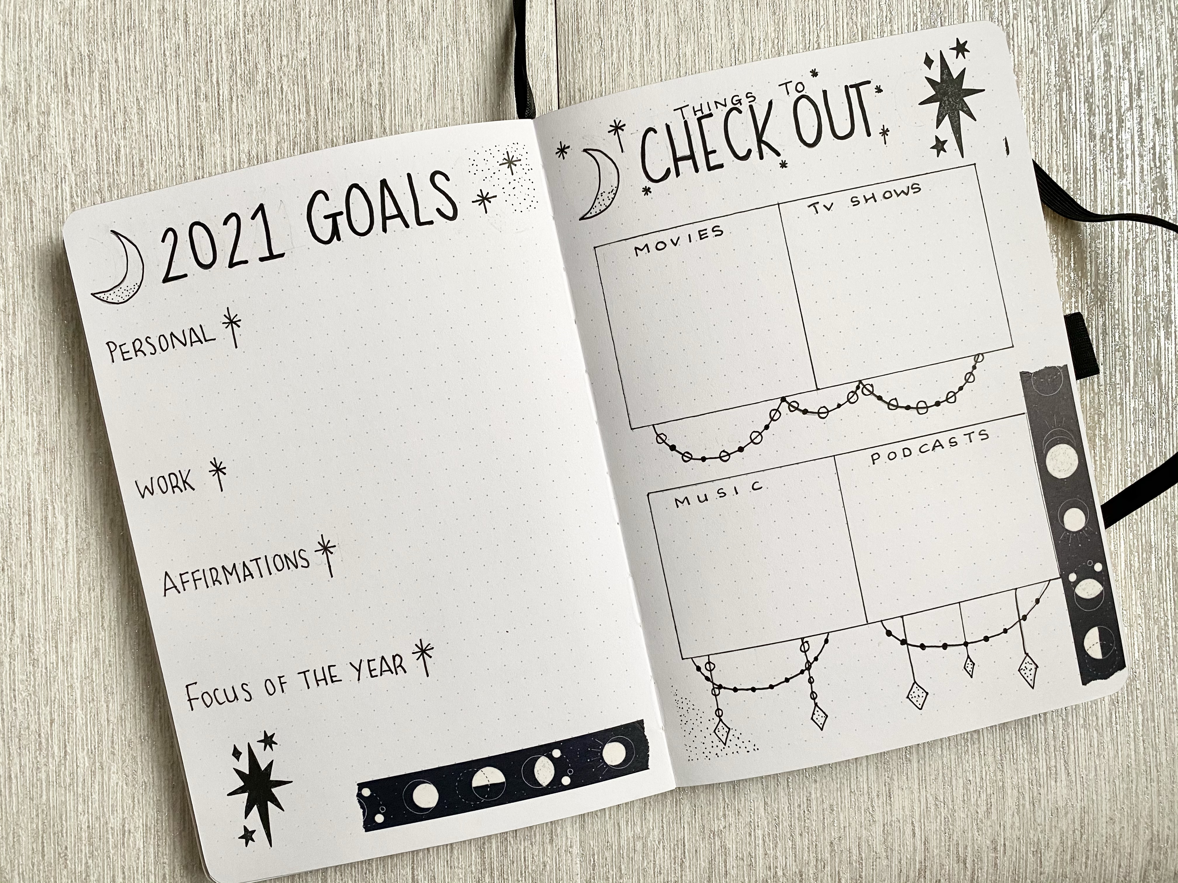 A bullet journal 2021 spread using black lettering, moons, stars and moon washi tape. On the right page is a 2021 goals page and the left page is a things to check out page to write down recommendations.