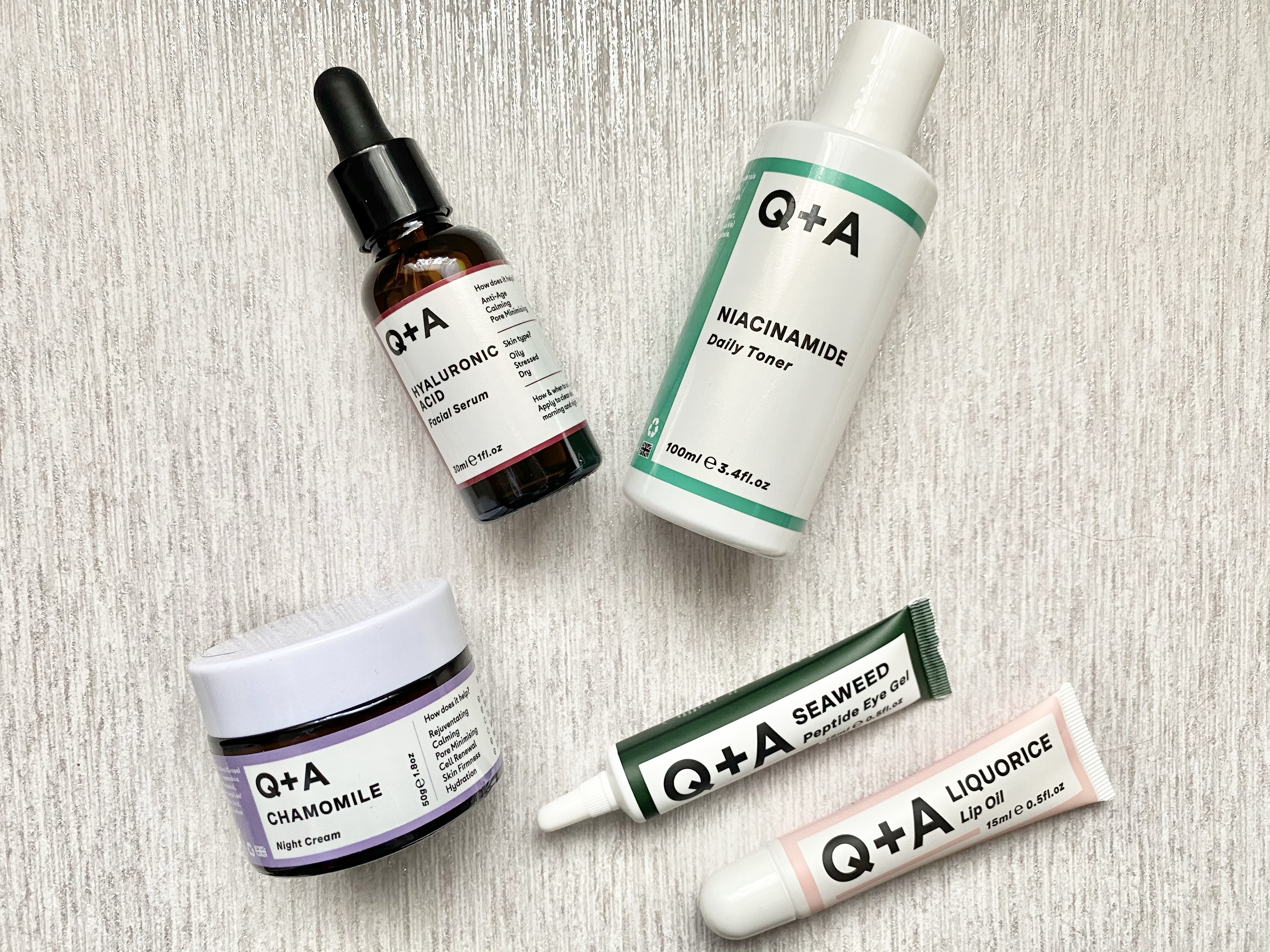 Q+A skin eye gel, lip oil, daily toner, hyaluronic acid facial serum and night cream