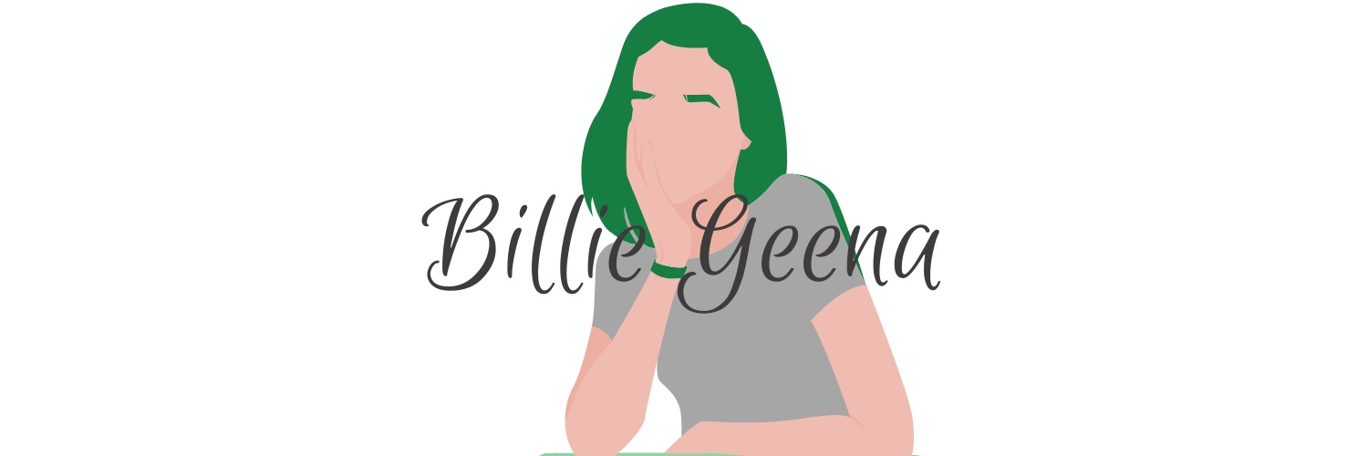 The words billie geena is in calligraphy writing over a cartoon of a woman with green hair and eyebrows.