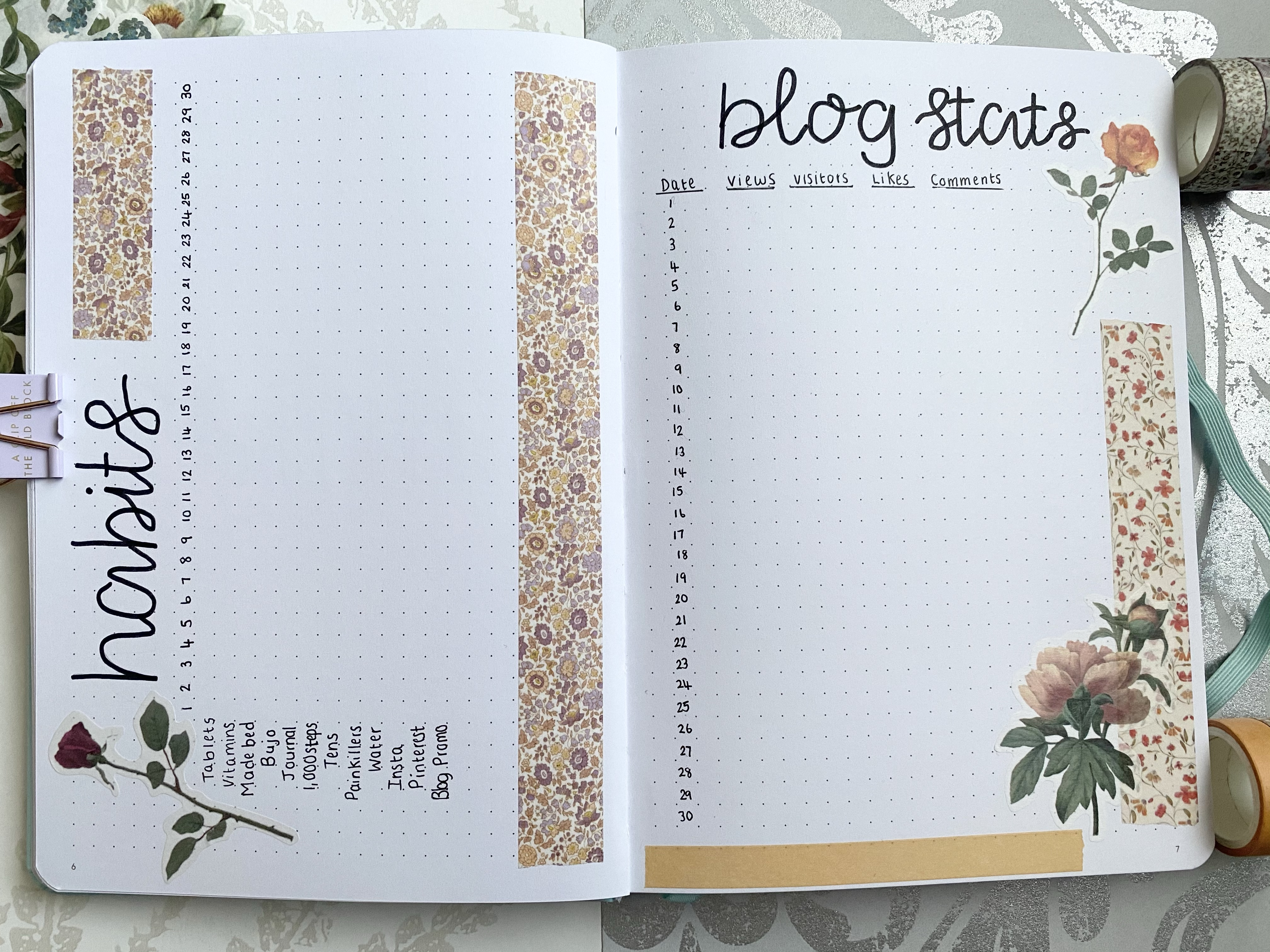 A bullet journal double page spread. On the left hand page is a habit tracker in a table form with washi tape. On the right page is a blog stats tracker with washi tape and flower sticker down the right side of the page.