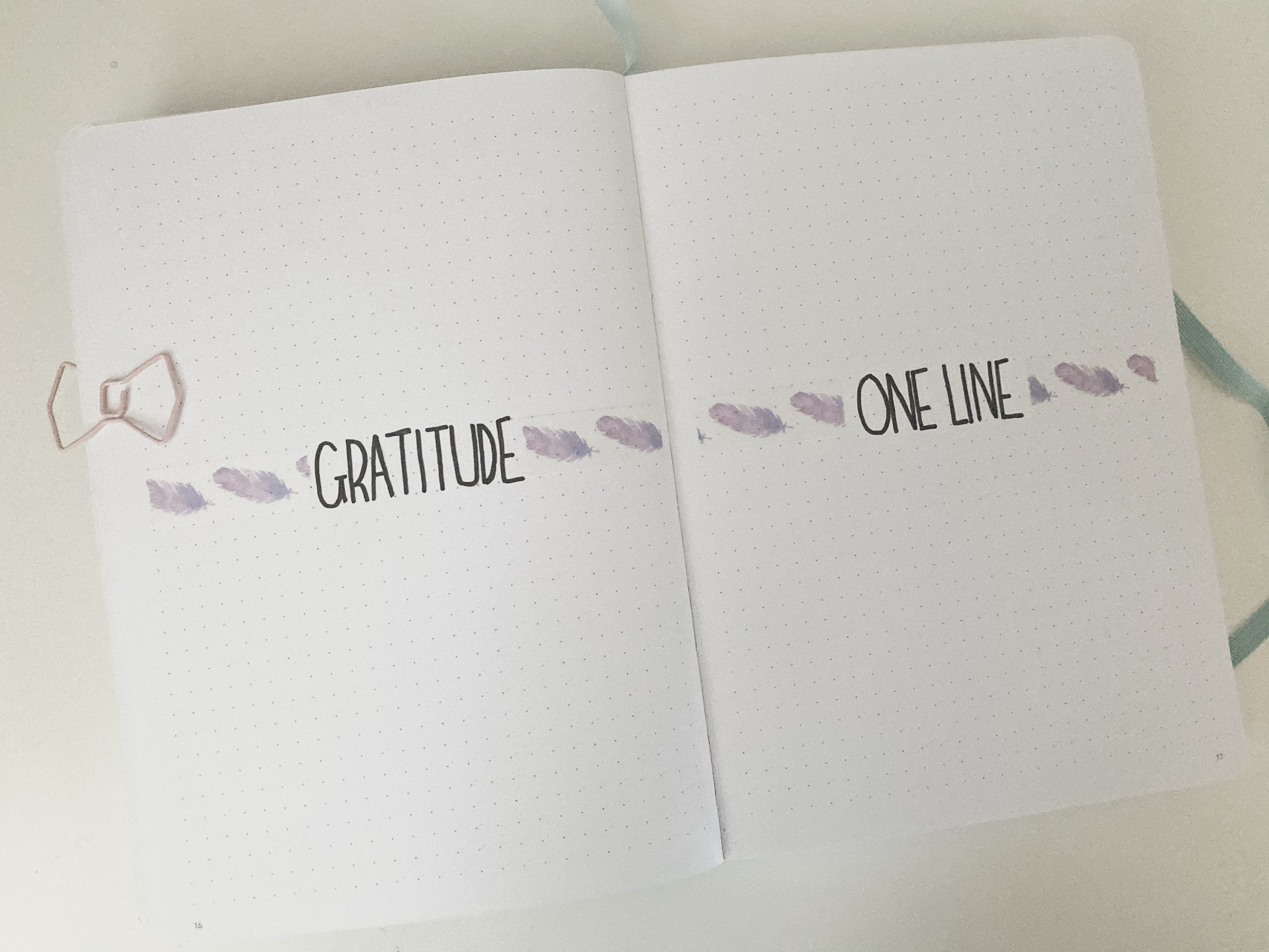 A double page bullet journal spread. On the left side is a gratitude tracker and on the right is the one line of your day tracker. Both page are decorated with purple feather washi tape.