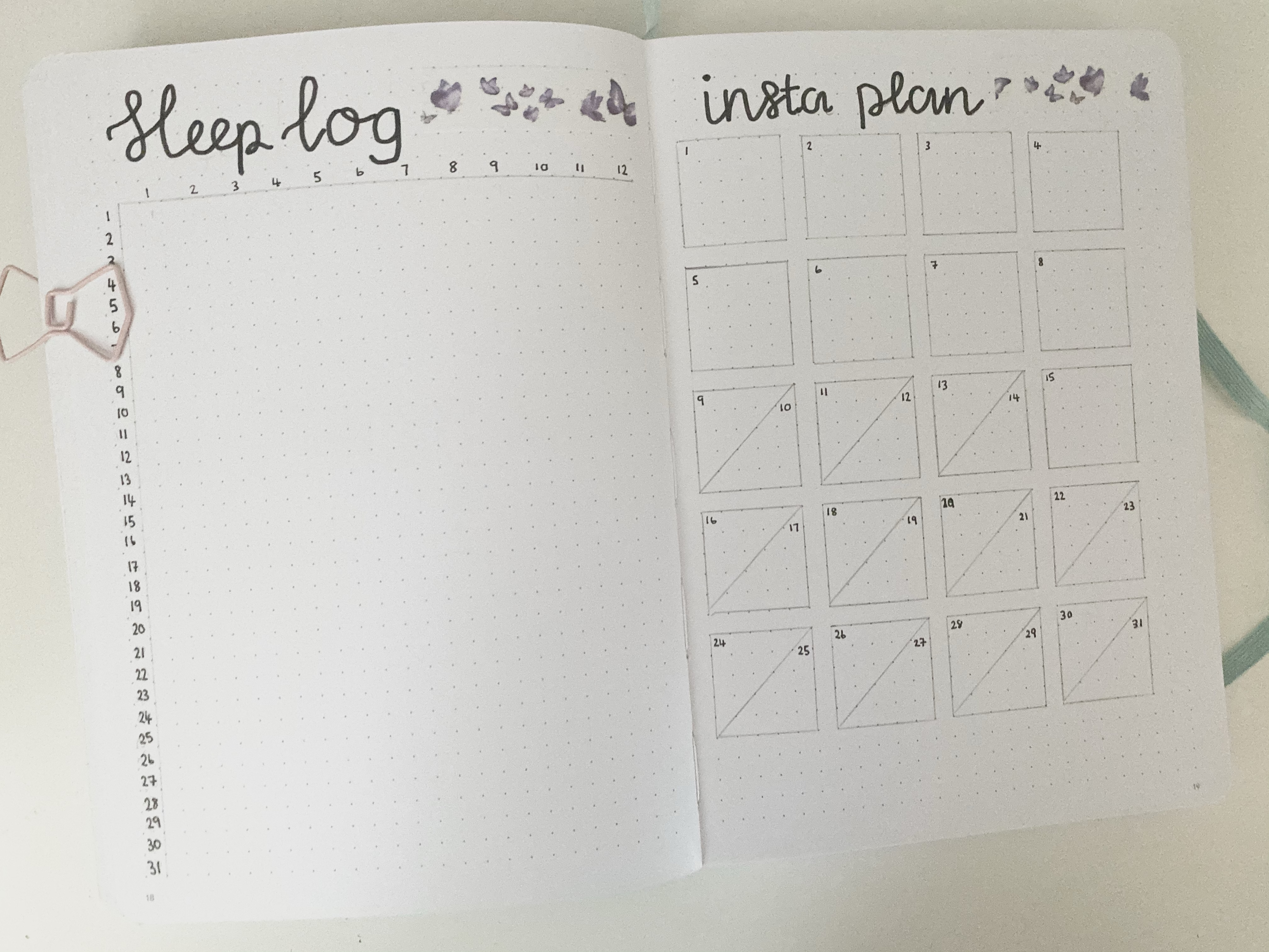 A double page bullet journal spread. On the left page is a sleep log and on the right page is an Instagram content planner.