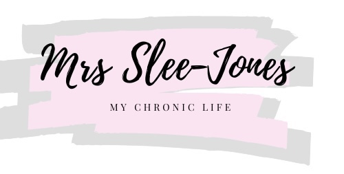 Mrs Slee-Jones is in black cursive lettering. Underneath it says my chronic life with a pink and grey paint strokes.