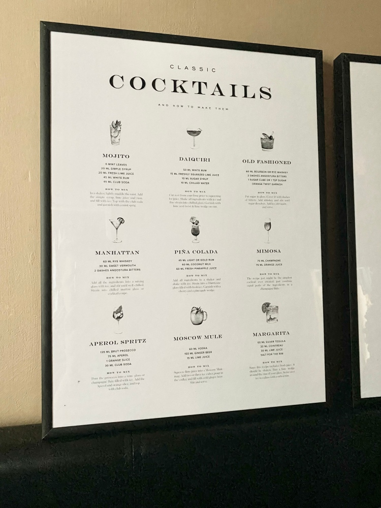 A poster in a black frame that is a cocktail guide