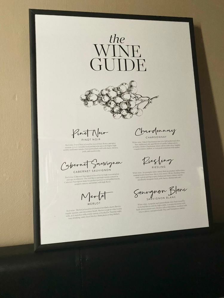 A poster in a black frame