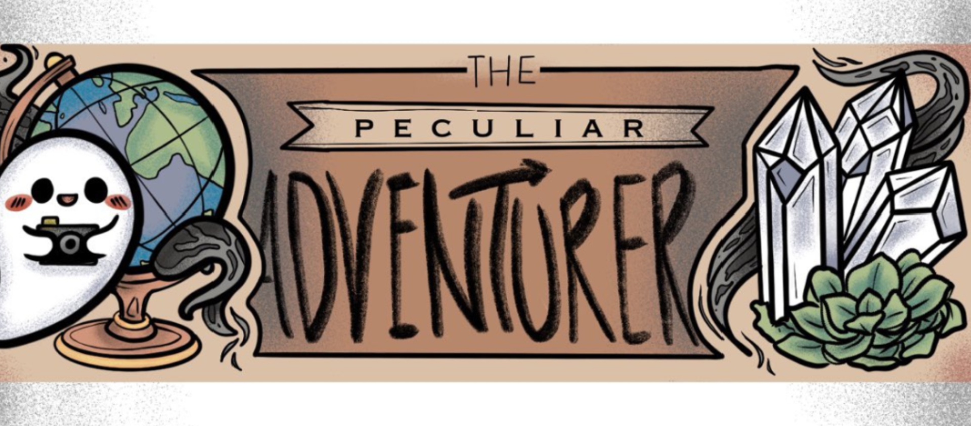 Peculiar Adventure written with a ghost doodle on the left and crystal doodles on the right