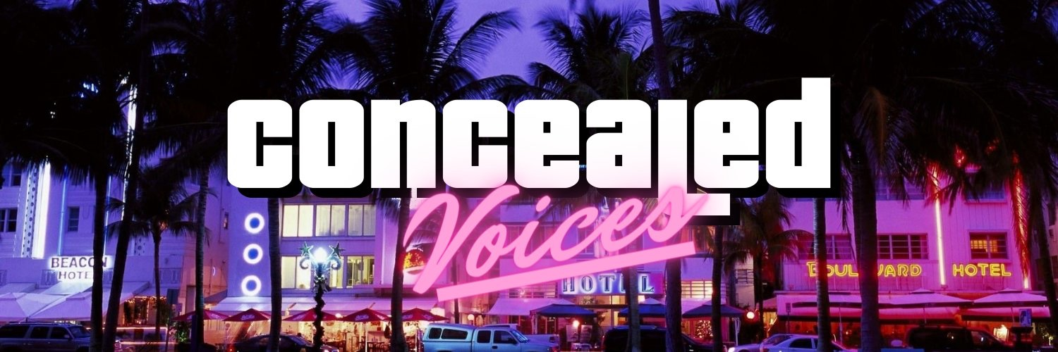Vice city themed logo background with the words concealed voices in bold white and pink writing
