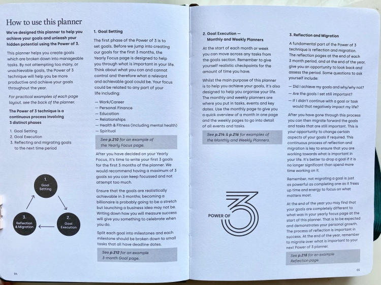 A double page explaining how to use this goal planner