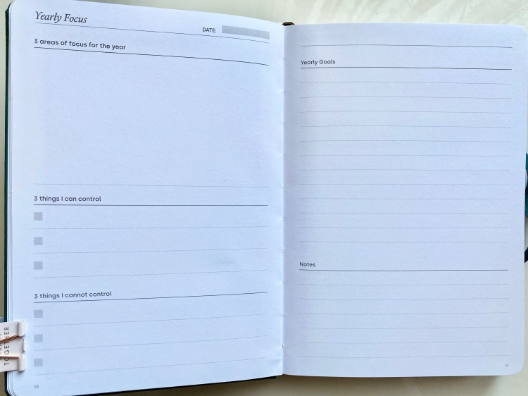 A blank yearly focus double page spread in the goal planner