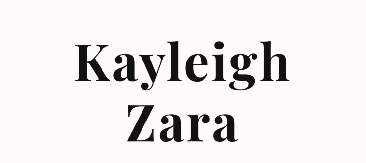Kayleigh Zara written in black block letters with a pale pink background
