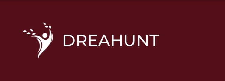 A figure in white next to the word dreahunt in white letters with a burgundy red background logo.