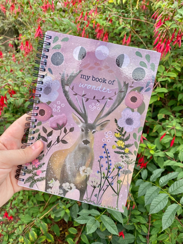 A notebook that says my book of wonder. It has a hand designed stag and flowers. Behind the notebook is flowers and bushes.