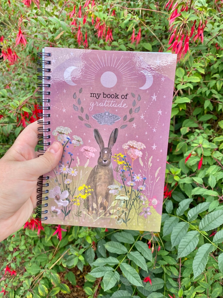 A notebook that says my book of gratitude. It has a hand designed cover with a hare, flowers and the sky. I am holding the notebook in front of the flowers and bushes.